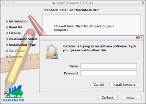 Trước khi cài đặt, cần nhập password cho tài khoản Mac