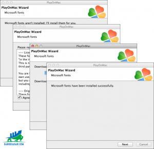 Sau khi khởi động lại máy, mở lại file DMG lên.Cửa sổ như lúc nảy sẽ xuất hiện, lần này bộ cài đặt sẽ cung cấp các font chữ của Windows cho MT4 hoạt động hiệu quả