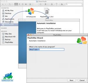 Vào metatrader4.com down file về, sau khi mở file lên PlayOnMac sẽ tự kích hoặt để cài đặt.