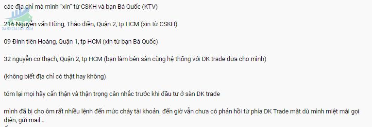 Sàn giao dịch Forex DK Trade lừa đảo khách hàng