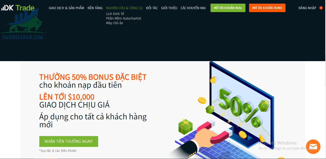 Chương trình khuyến mãi của sàn giao dịch Forex DK Trade