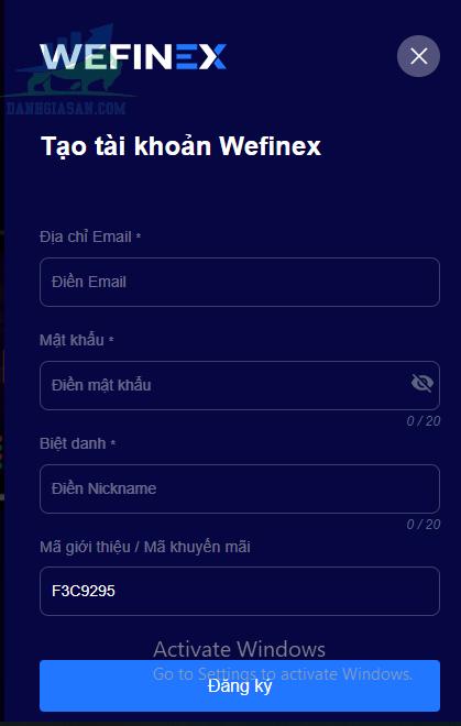 Mở tài khoản tại sàn Wefinex