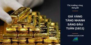 Giá vàng tăng nhanh sáng đầu tuần 16-11