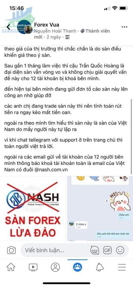 sàn giao dịch Nash lừa đảo
