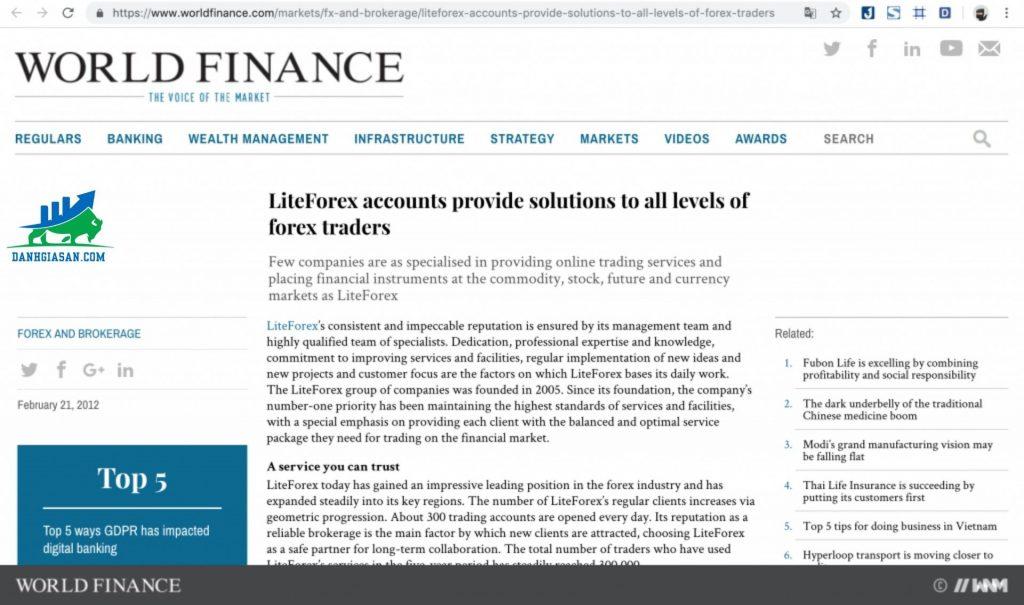 sàn LiteForex đã được Tổ chức tài chính Worldfinance đánh giá cao