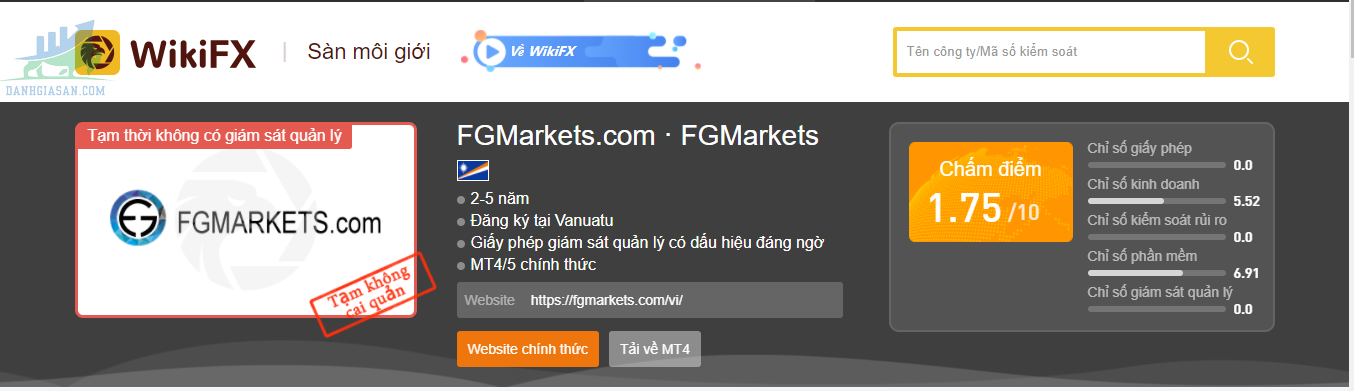 Đánh giá của Wikifx về nhà môi giới FGMarkets