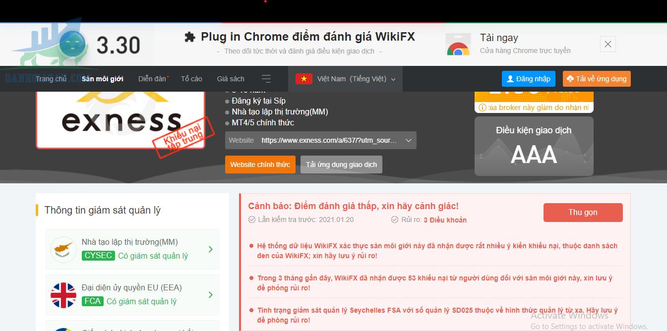 Đánh giá của Wikifx về sàn Exness lừa đảo khách hàng