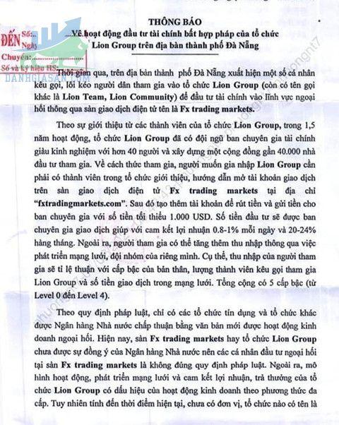 Tổ chức tài chính Lion Group lừa đảo với mức lãi suất khủng-Văn bản cảnh báo của Công an TP.Đà Nẵng