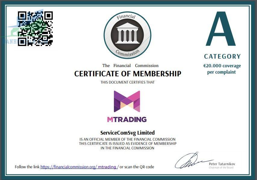 Chứng chỉ hoạt động của nhà môi giới MTrading
