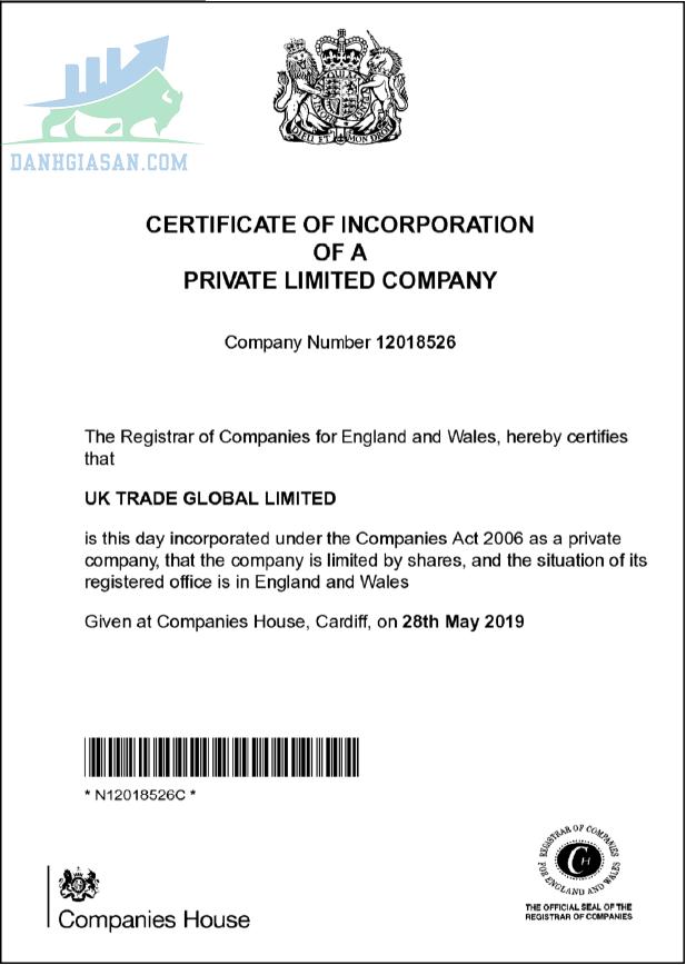 Chứng chỉ hoạt động của nhà môi giới UK Trade