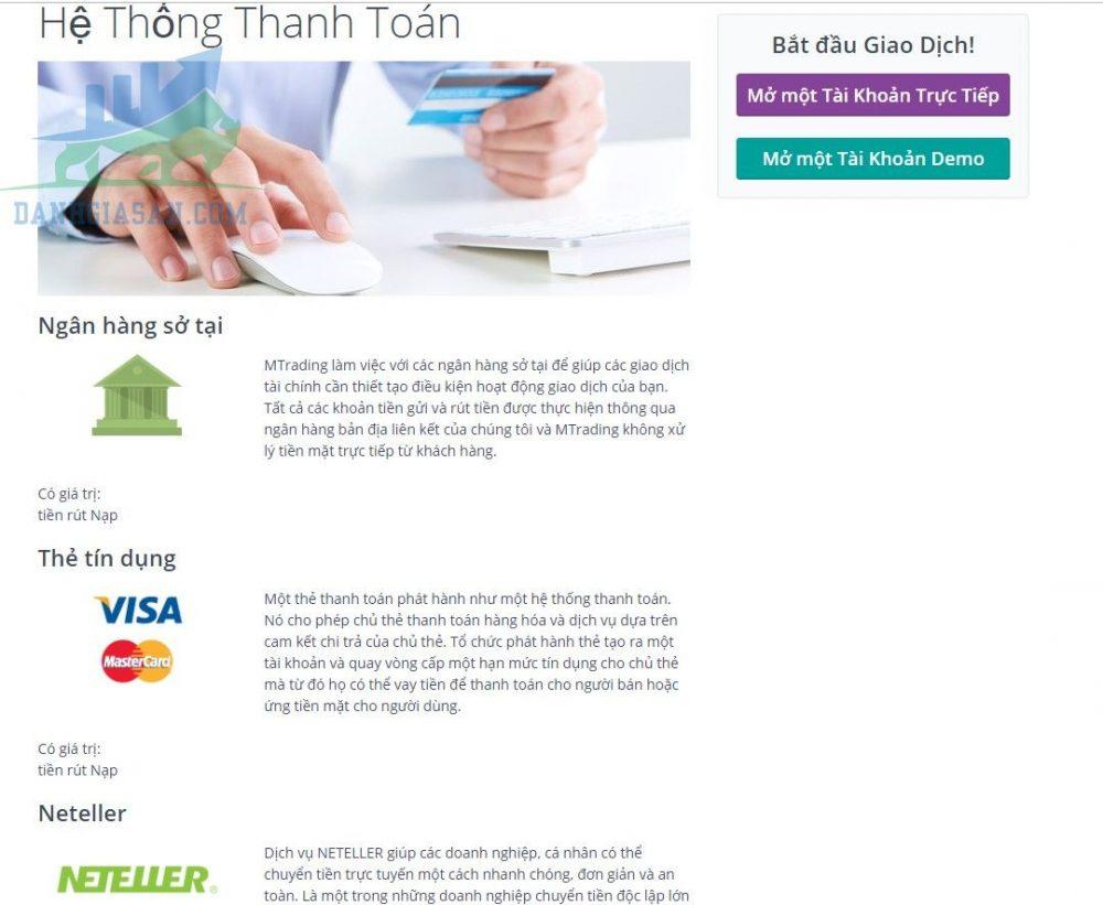 Các hình thức nạp và rút tiền tại sàn giao dịch ngoại hối MTrading