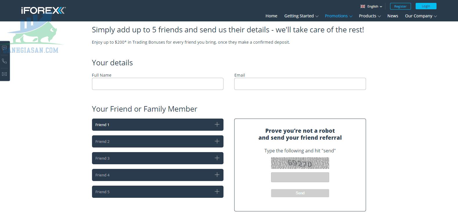 Chương trình khuyến mãi giới thiệu khách hàng của iForex