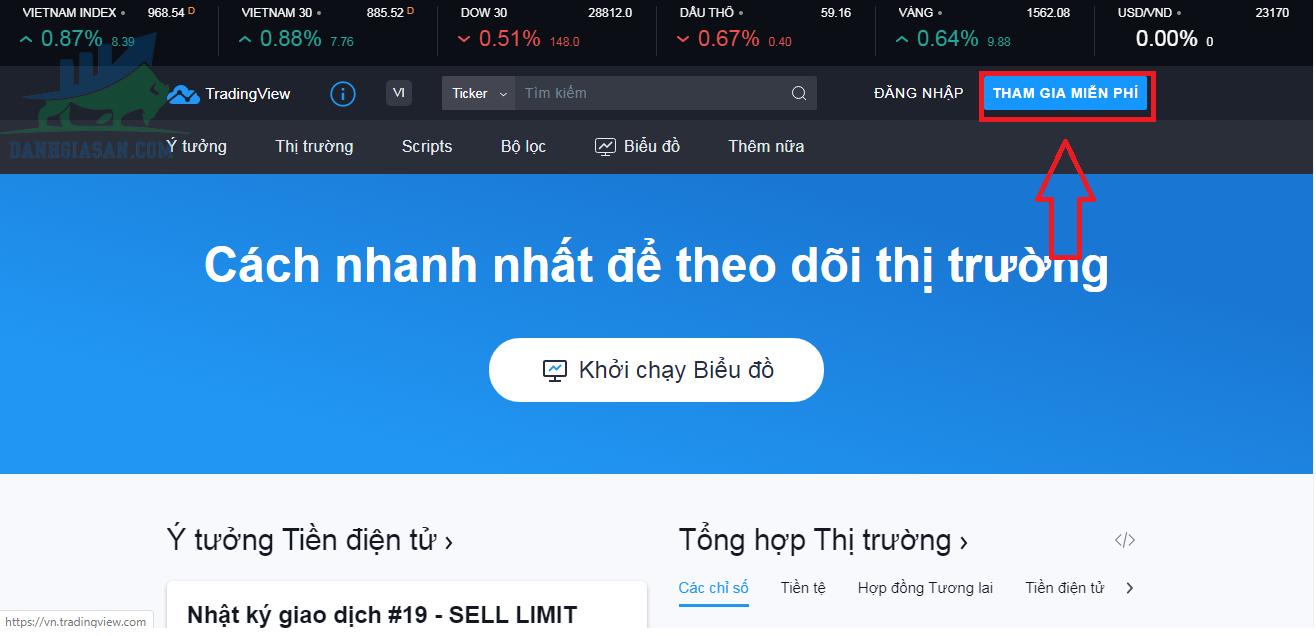 Cách đăng ký tài khoản tại nền tảng TradingView