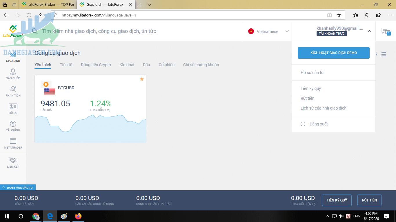 Các bước mở tài khoản tại LiteFinance